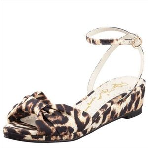Alice + Olivia Leopard Print Alexi Wedge Sandals